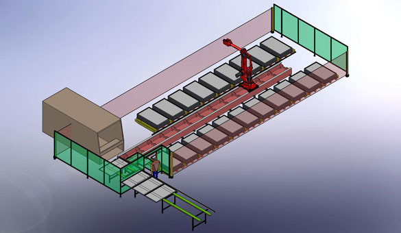 Simulation, labeling, palletizing